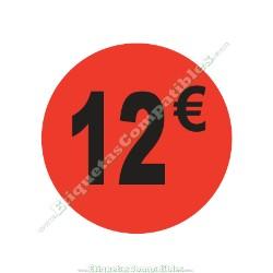 "1 Rollo 500 Etiquetas ""12 €"" Rojo Flúor"