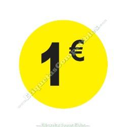 """1 Rollo 500 Etiquetas """"1 €"""" Amarillo Flúor"""