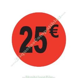 "1 Rollo 500 Etiquetas ""25 €"" Rojo Flúor"