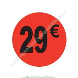 "1 Rollo 500 Etiquetas ""29 €"" Rojo Flúor"
