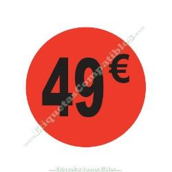 "1 Rollo 500 Etiquetas ""49 €"" Rojo Flúor"