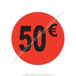 "1 Rollo 500 Etiquetas ""50 €"" Rojo Flúor"