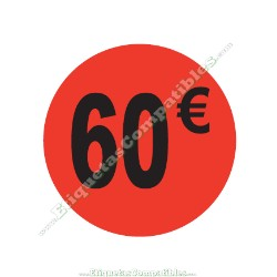 "1 Rollo 500 Etiquetas ""60 €"" Rojo Flúor"