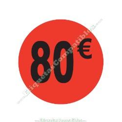 "1 Rollo 500 Etiquetas ""80 €"" Rojo Flúor"