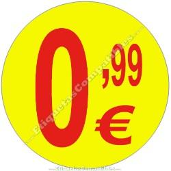 """Rollo 500 Etiquetas """"0,99 €"""" Amarillo"""