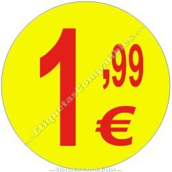"""Rollo 500 Etiquetas """"1,99 €"""" Amarillo"""