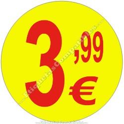"""Rollo 500 Etiquetas """"3,99 €"""" Amarillo"""