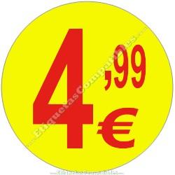 """Rollo 500 Etiquetas """"4,99 €"""" Amarillo"""