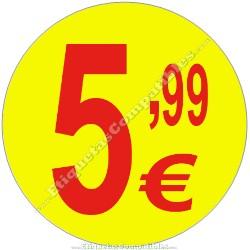 """Rollo 500 Etiquetas """"5,99 €"""" Amarillo"""