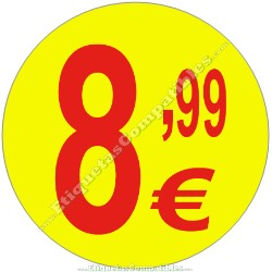 """Rollo 500 Etiquetas """"8,99 €"""" Amarillo"""