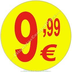 """Rollo 500 Etiquetas """"9,99 €"""" Amarillo"""