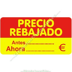 "1 Rollo 500 Etiquetas ""Precio Rebajado"" rojo/amarillo rectangular"
