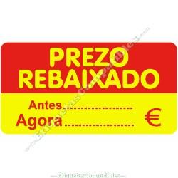 """Rollo 500 Etiquetas """"Prezo Rebaixado"""" Rectángulo Rojo/Amarillo"""