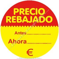 """1 Rollo 500 Etiquetas """"Precio Rebajado"""" círculo rojo/amarillo"""