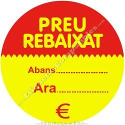 """Rollo 500 Etiquetas """"Preu Rebaixat"""" Círculo Rojo/Amarillo"""