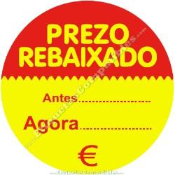 "Rollo 500 Etiquetas ""Prezo Rebaixado"" Círculo Rojo/Amarillo"
