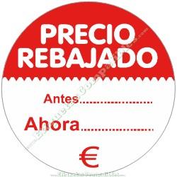 """1 Rollo 500 Etiquetas """"Precio Rebajado"""" círculo rojo/blanco"""