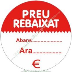 """Rollo 500 Etiquetas """"Preu Rebaixat"""" círculo Rojo/Blanco"""