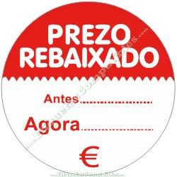 """Rollo 500 Etiquetas """"Prezo Rebaixado"""" círculo Rojo/Blanco"""