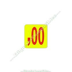 "Rollo 1000 Etiquetas ""00 Céntimos"" Amarillo"
