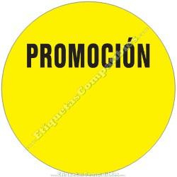 """1 Rollo 500 Etiquetas """"Promoción"""" círculo amarillo"""