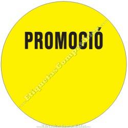 """Rollo 500 Etiquetas """"Promoció"""" Círculo Amarillo"""