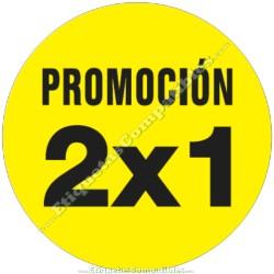 """1 Rollo 500 Etiquetas """"Promoción 2x1"""" círculo amarillo"""