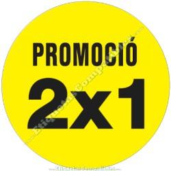 """Rollo 500 Etiquetas """"Promoció 2x1"""" Círculo Amarillo"""