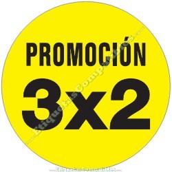 """1 Rollo 500 Etiquetas """"Promoción 3x2"""" círculo amarillo"""
