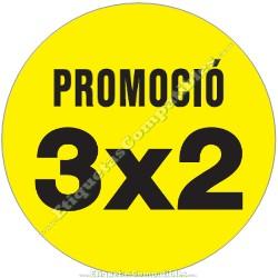 """Rollo 500 Etiquetas """"Promoció 3x2"""" Círculo Amarillo"""