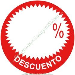 """Rollo 500 Etiquetas """"Descuento"""" círculo rojo/blanco"""