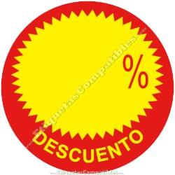 """Rollo 500 Etiquetas """"Descuento"""" Círculo Rojo/Amarillo"""