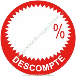 """Rollo 500 Etiquetas """"Descompte"""" Círculo Rojo/Blanco"""
