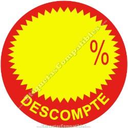 """Rollo 500 Etiquetas """"Descompte"""" Círculo Rojo/Amarillo"""