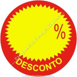 """Rollo 500 Etiquetas """"Desconto"""" Círculo Rojo/Amarillo"""