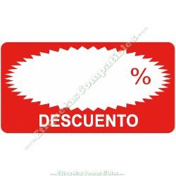 """Rollo 500 Etiquetas """"Descuento"""" Rectágulo Rojo/Blanco"""