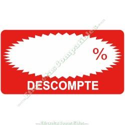 """Rollo 500 Etiquetas """"Descompte"""" Rectágulo Rojo/Blanco"""