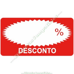 """Rollo 500 Etiquetas """"Desconto"""" Rectágulo Rojo/Blanco"""