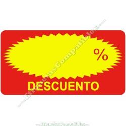 """Rollo 500 Etiquetas """"Descuento"""" Rectágulo Rojo/Amarillo"""