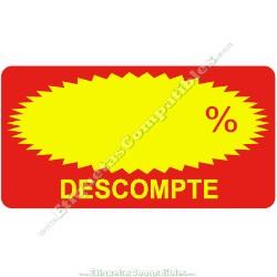 """Rollo 500 Etiquetas """"Descompte"""" Rectágulo Rojo/Amarillo"""