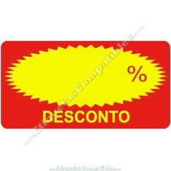 """Rollo 500 Etiquetas """"Desconto"""" Rectágulo Rojo/Amarillo"""