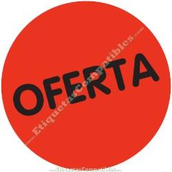 """Rollo 500 Etiquetas """"Oferta"""" círculo Rojo Flúor"""