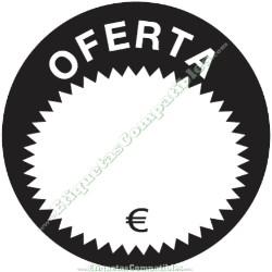 """Rollo 500 Etiquetas """"Oferta"""" Círculo Negro/Blanco"""