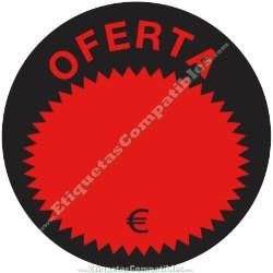 """Rollo 500 Etiquetas """"Oferta"""" Círculo Negro/Rojo"""
