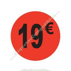 "1 Rollo 500 Etiquetas ""19 €"" Rojo Flúor"