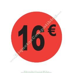 "Rollo 500 Etiquetas ""16 €"" Rojo Flúor"