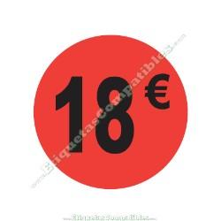 "Rollo 500 Etiquetas ""18 €"" Rojo Flúor"