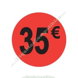 "Rollo 500 Etiquetas ""35 €"" Rojo Flúor"