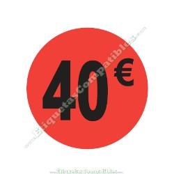 "Rollo 500 Etiquetas ""40 €"" Rojo Flúor"