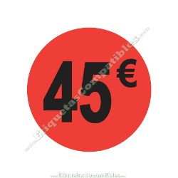 "Rollo 500 Etiquetas ""45 €"" Rojo Flúor"